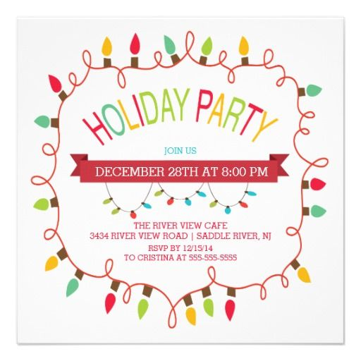 merry bright christmas lights holiday invitation christmas