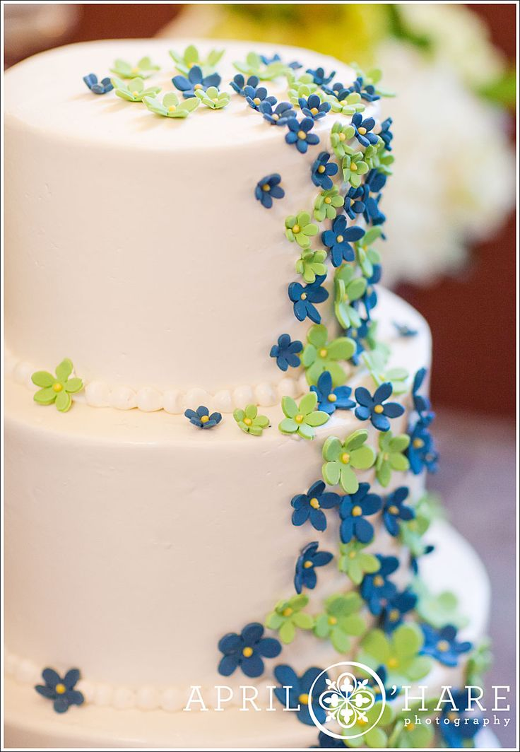 Adorable blue and green wedding cake
