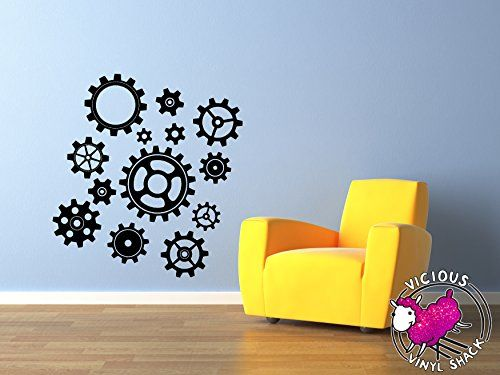 Industrial Steam Punk 13 Gears BLACK Vinyl 30 inch Wall Decal Sticker Home Decor Stickers for MacBook Laptop Car Love Forever Birds Always Relationships Feathers Peace Tough Strength Strong Strength Clock Watch -- You can get additional details at the image link.