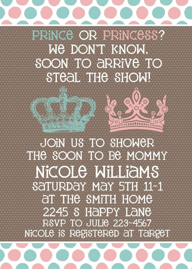 Baby Shower invitation -- Neutral Gender Unknown Shower -- Prince or Princess. $16.00, via Etsy.