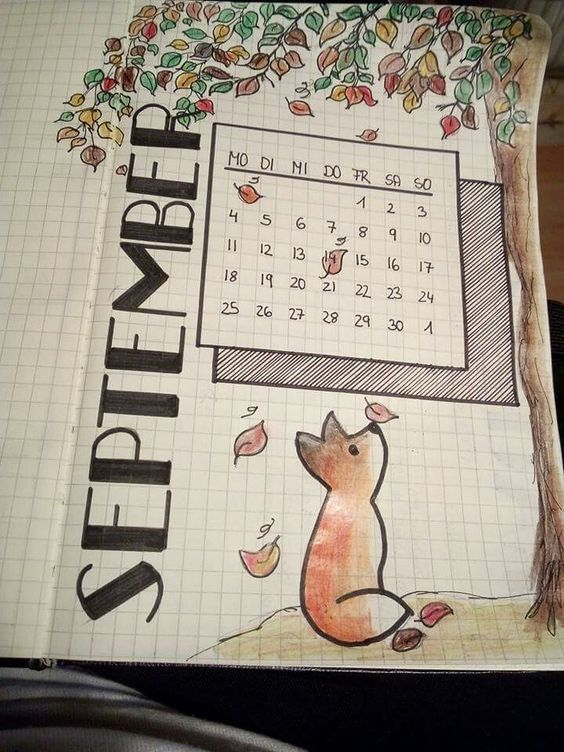 Bullet Journal Cover für September Fox Fall Theme