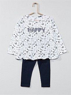 Niña 0-36 meses - Conjunto de camiseta con faldón + legging - Kiabi ... 6fba584a0882