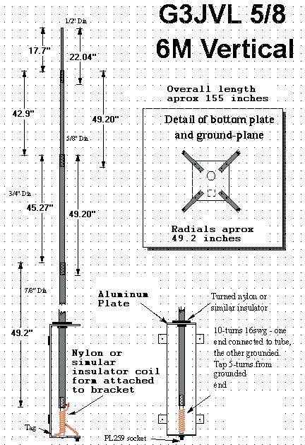 6 Meter 5 8 Wave Vertical Antenna Project By G3jvl Ham