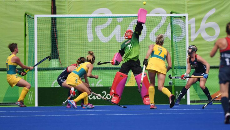 Best images from the Rio Olympics:   United States goalkeeper Jackie Briggs reaches to make a save against Australia during the women's team first round in the Rio 2016 Summer Olympic Games at Olympic Hockey Centre. The Americans won 2-1.