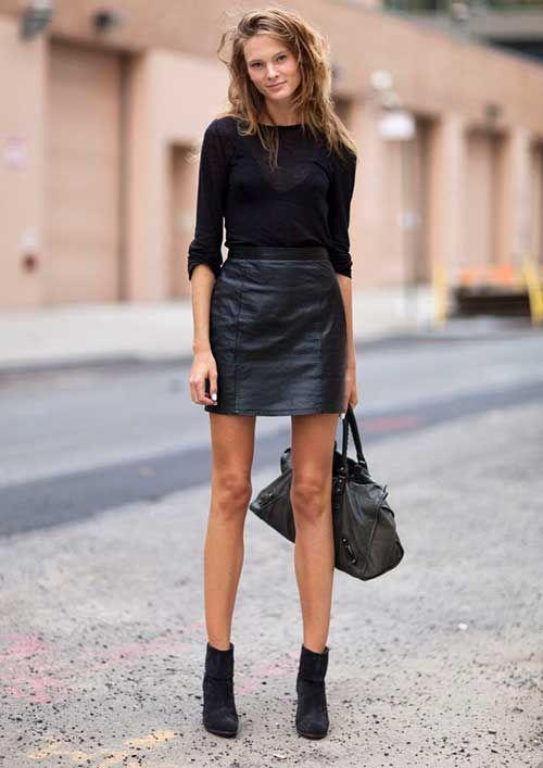 Moda Siyah Mini Etek Kombin
