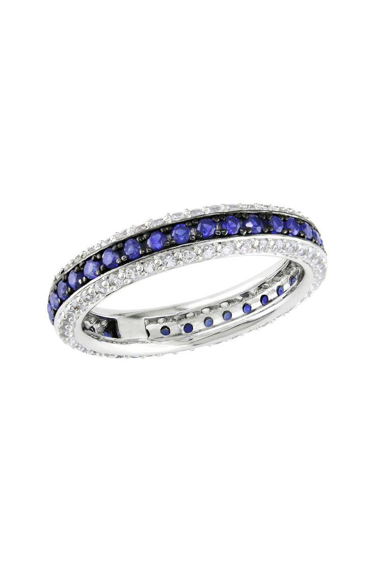 Blue & White Sapphire Eternity Ring  ♥
