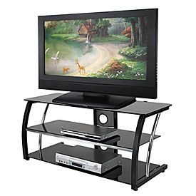 """$79.99      44"""" Black Glass TV Stand     from+Big+Lots"""