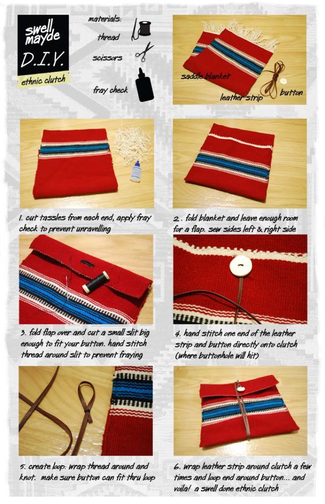 DIY ethnic wrap clutch