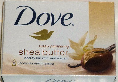Dove Purely Pampering Shea Butter Beauty Bar with Vanilla Scent Soap 4.75 Oz / 135 Gr (Pack of 12 Bars) by Dove. $17.58. Box of 12 bars each bar individually wrapped. Made in Germany. Dove Purely Pampering Shea Butter Beauty Bar with Vanilla Scent with 1/4 moisturising cream.. Dove beauty bar is the #1 choice of dermatologists. Dove 1/4 moisturizing cream infused with a rich blend of Shea butter and vanilla melts deeply* into dry, dull skin leaving it feeling soft, smo...