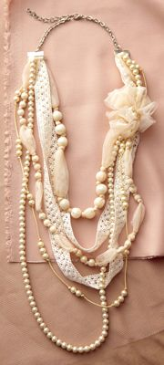 Flower Applique And Pearl Multi Strand Necklace