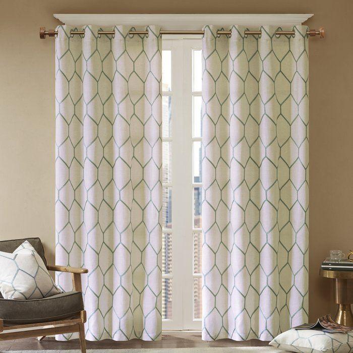 Almaguer Geometric Semi Sheer Grommet Single Curtain Panel Panel