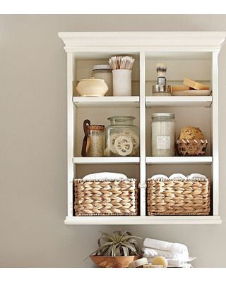 Pottery Barn Newport Wall Cabinet from Pottery Barn | BHG.com Shop... easy to make a replica. Cubicle shelving with crown molding added to top