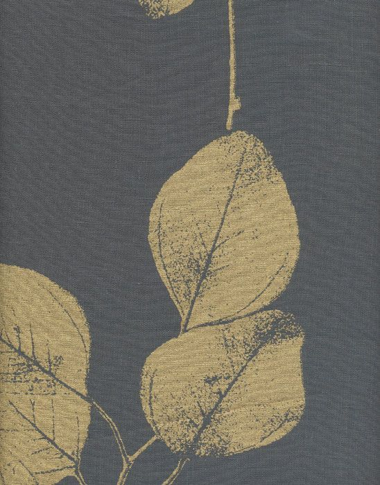 Leaf Charcoal Gold Linen Fabric