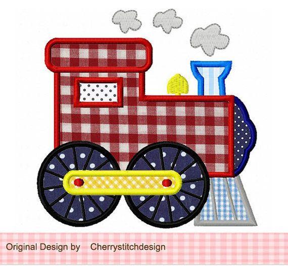 train applique design | Train Applique -4x4 5x7 6x10-Machine Embroidery Applique Design