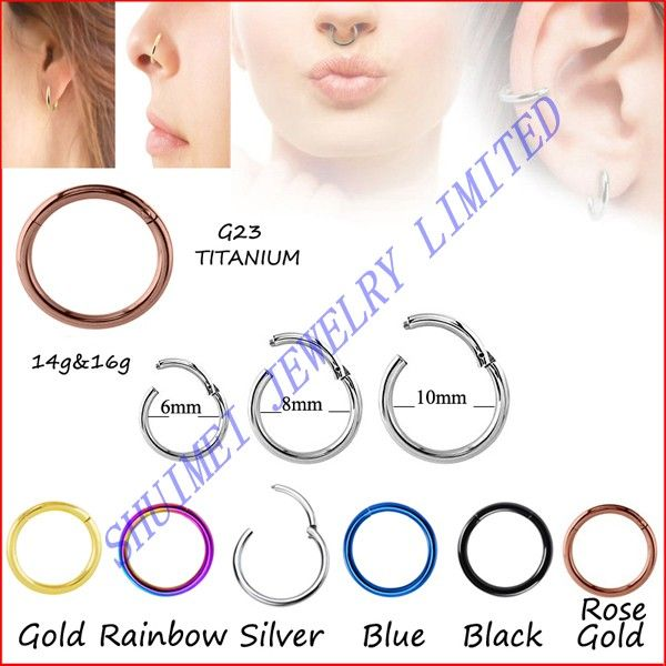 SHUIMEI 1Pcs G23 Titanium Hinged Nose Septum Clicker Segment Ring Lip Nipple Ear Tragus Piercing Body Jewelry 14G,16G