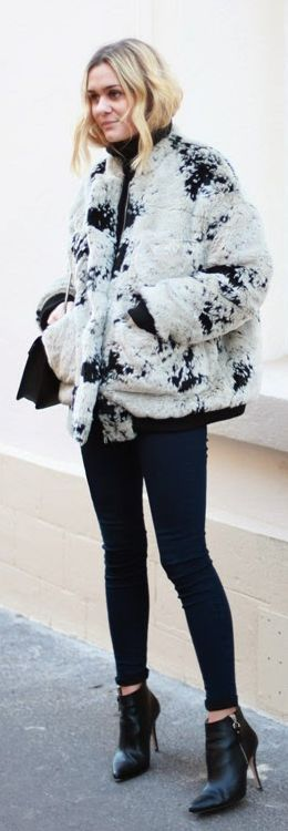 White And Black Faux Fur Jacket by Adenorah