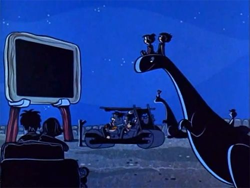The Flintstones at the drive-in theatre