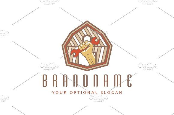 For sale. Only $29  #retro #house #brown #building #farm #gate #man #maintenance #tool #mechanic #wooden #repair #equipment #hand #human #fist #parts #barn #handyman #wrench #fix #spanner #logo #design #template