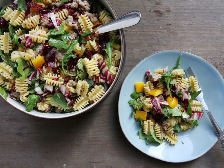 Sausage Salad with Mustard Vinaigrette- omit pasta substitute bell peppers or cabbage
