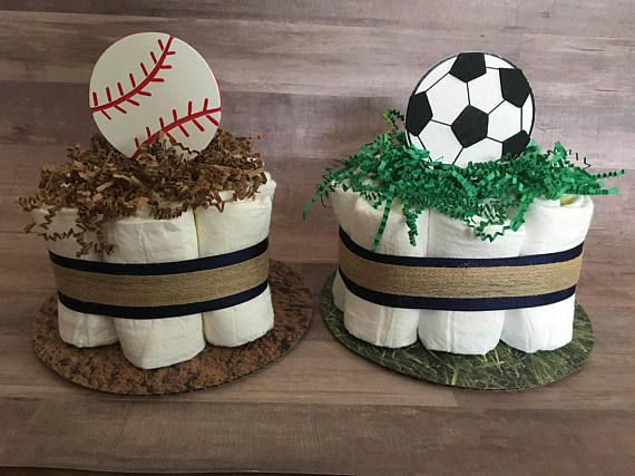 Sports Mini Diaper Cakes / Basketball/Football/Baseball/Soccer