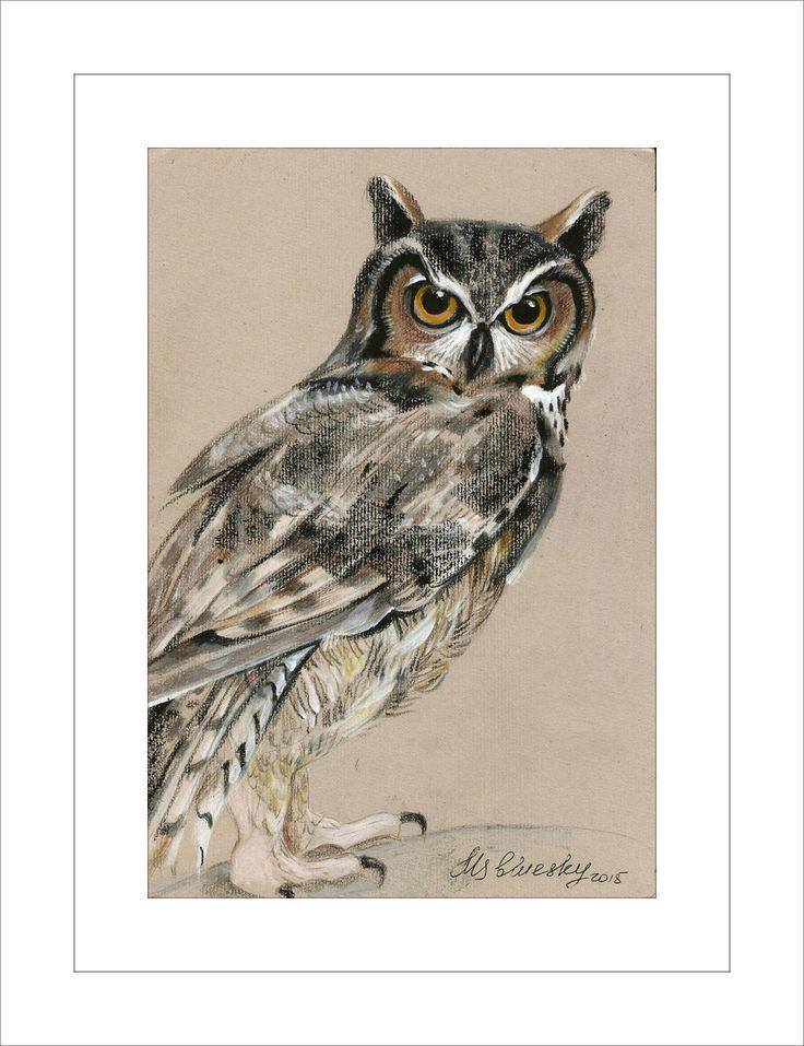 Owl - Original mixed media Painting 6x8 inches Bird wild nature Winter Snow by nekoBlueSKY on Etsy