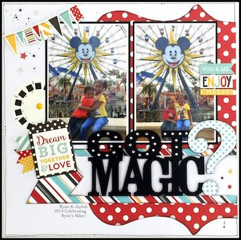 "This layout is from the Echo Park ""Magical Adventures"" page kit:"