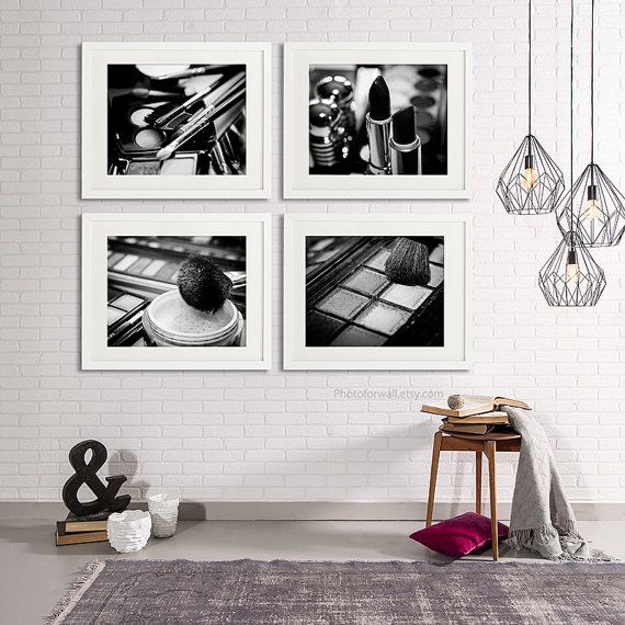 Chanel Makeup Bathroom Decor Set of 4 black and by PHOTOFORWALL
