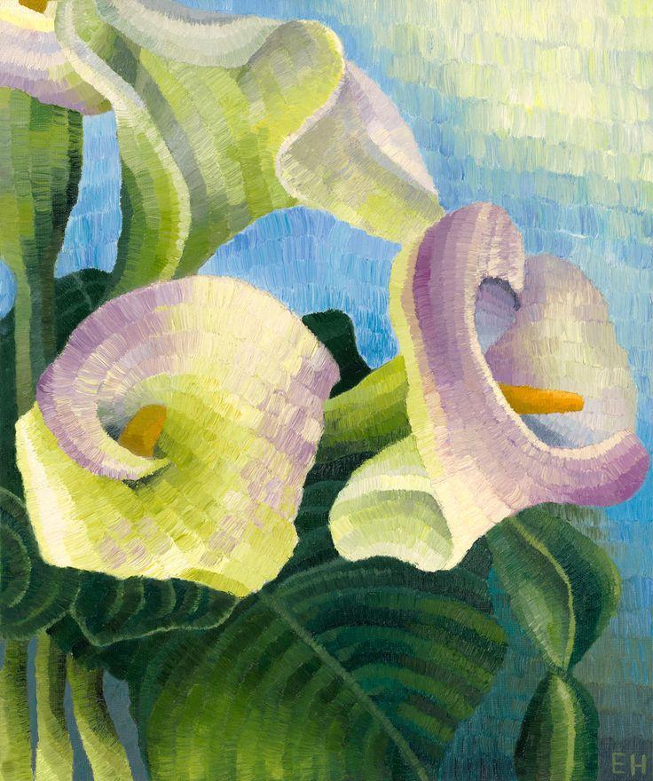 Arum Lillies, oil on canvas board, Elisabeth Howlett, 2014