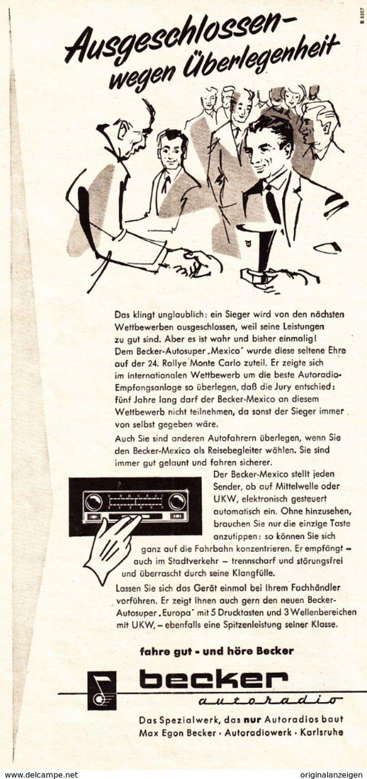 Werbung - Original-Werbung/ Anzeige 1955 - BECKER AUTORADIO - KARLSRUHE - ca. 110 x 230 mm