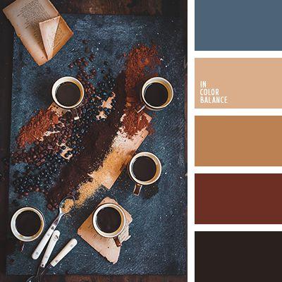 контрастное сочетание теплых и холодных тонов, коричневый и черный, оттенки коричневого, оттенки оранжевого и коричневого, оттенки серо-синего цвета, оттенки сине-серого цвета, палитры для дизайнеров, рыже-коричневый цвет, темно-рыжий цвет, цвет гранита, цвет корицы, цвет охры, цвет палочки корицы, черный и коричневый, черный и синий.