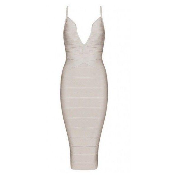 DOTTIE BANDAGE DRESS ($64) ❤ liked on Polyvore featuring dresses, white dot dress, bandage dress, sexy polka dot dress, criss cross back dress and dot print dress