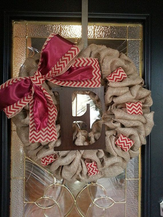 Burlap Wreath - Large Maroon Bow with Monogram Letter by GraceRyanBoutique