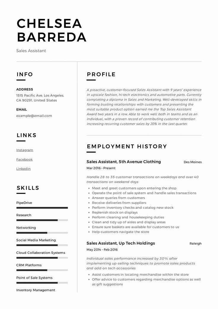 23 Sales assistant Job Description Resume in 2020 (With