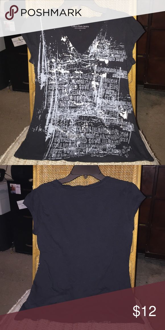 Calvin Klein Jeans V-neck Black And Silver Tee Size P/S.    Petite  black and silver graphic tee Calvin Klein Jeans Tops Tees - Short Sleeve