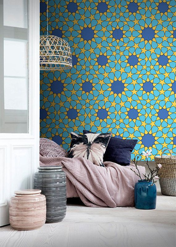 Self adhesive wallpaper , temporary wallpaper,removable wallpaper, geometric wallpaper , Peel and stick , wall patterns 052