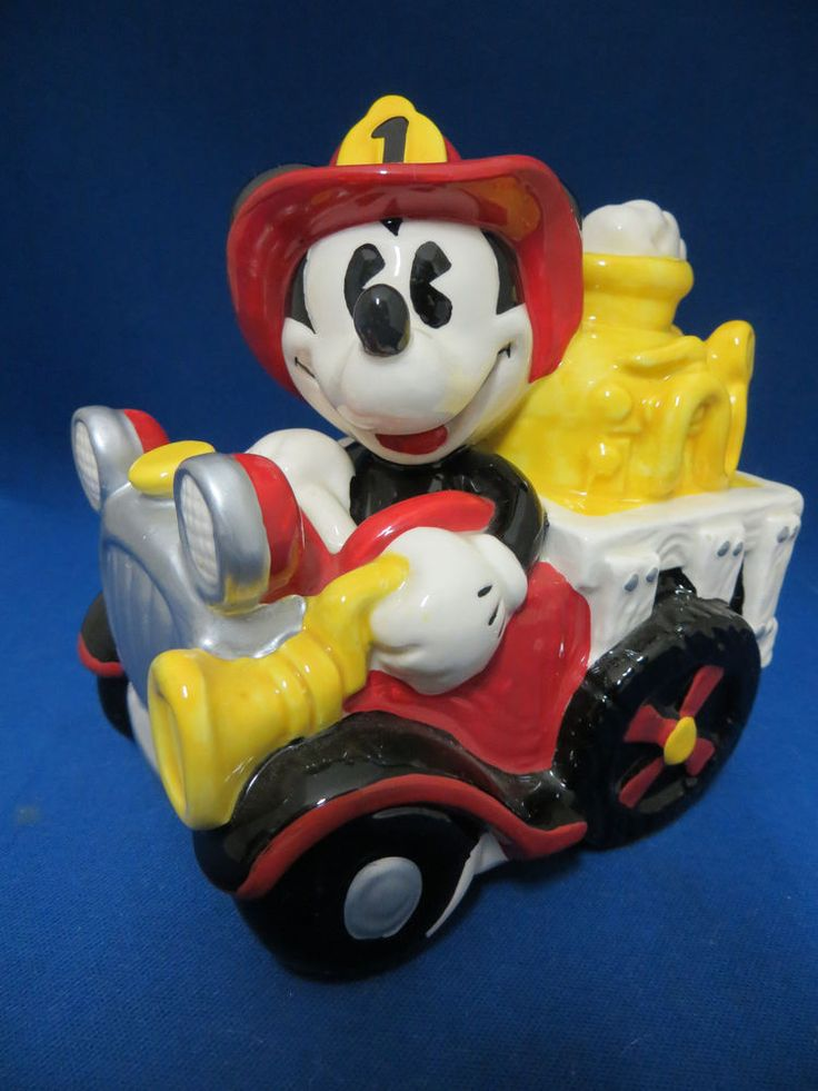 Disney Mickey Mouse Fire Truck Music Box Enesco Hot Time In The Old Town Tonight
