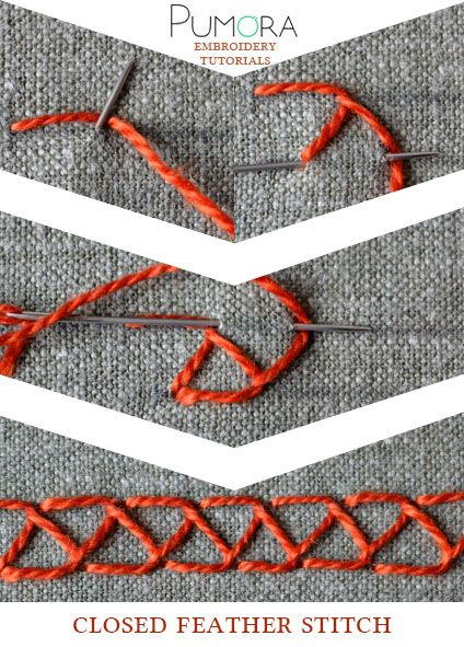 Pumora's lexicon of embroidery stitches: the closed feather stitch