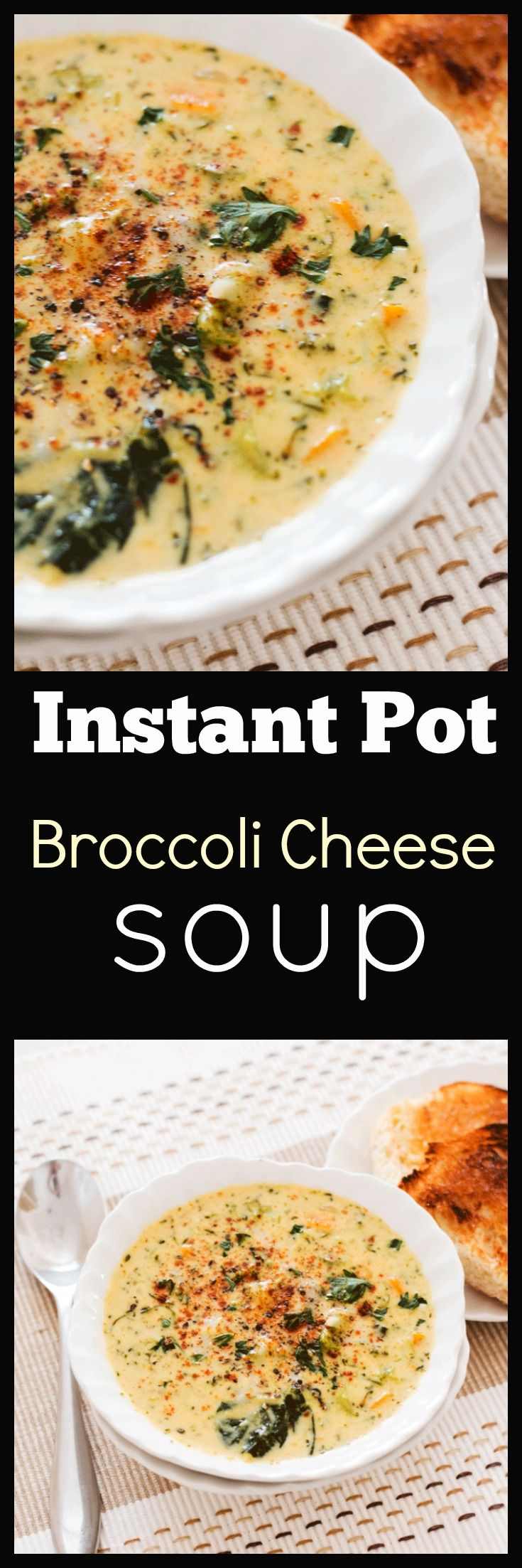 This easy Instant Pot Broccoli Cheese Soup is loaded with veggies, SUPER CHEESY and needs just a handful of ingredients you will already have on hand. Ready in only 20 minutes it makes the perfect midweek bowl of comfort. via @wholefoodbellies