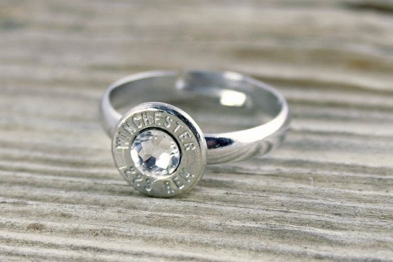 223 Nickel Bullet Adjustable Ring by BulletDesigns on Etsy, $14.95