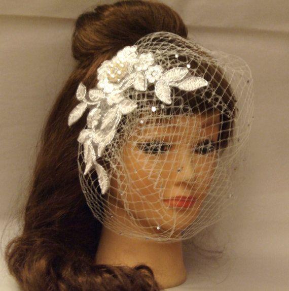 Ivory Birdcage veilWhite Wedding Bridal birdcage veil w