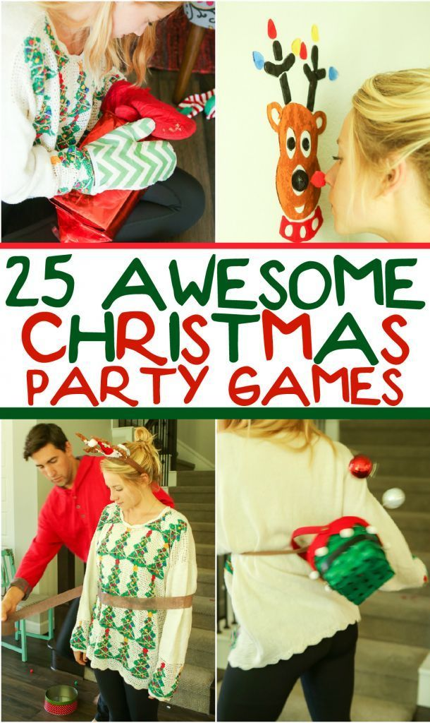 25 funny Christmas party games that are great for adults, for groups, for teens, and even for kids! Try them at the office for a work party, at school for a class party, or even at an ugly sweater party! I can't wait to try these for family night this Chr