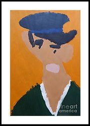 Framed Print featuring the painting Young Man With A Hat 2014 - After Vincent Van Gogh by Patrick Francis