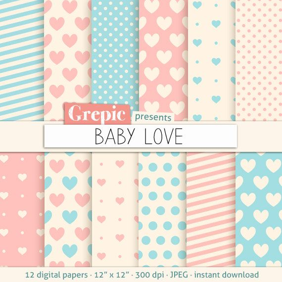 """Amor de papel digital: corazón """"BABY LOVE"""" patrones de fondos en azules y rosas románticos suaves colores pastel, para San Valentín o un bebé recién nacido"""