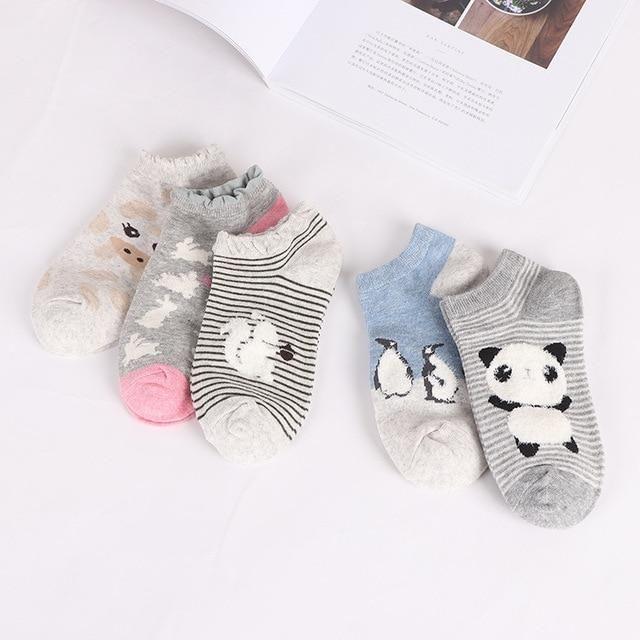 Various Colors Girls Female Cat Pattern Womens Ankle Socks Cotton Socks