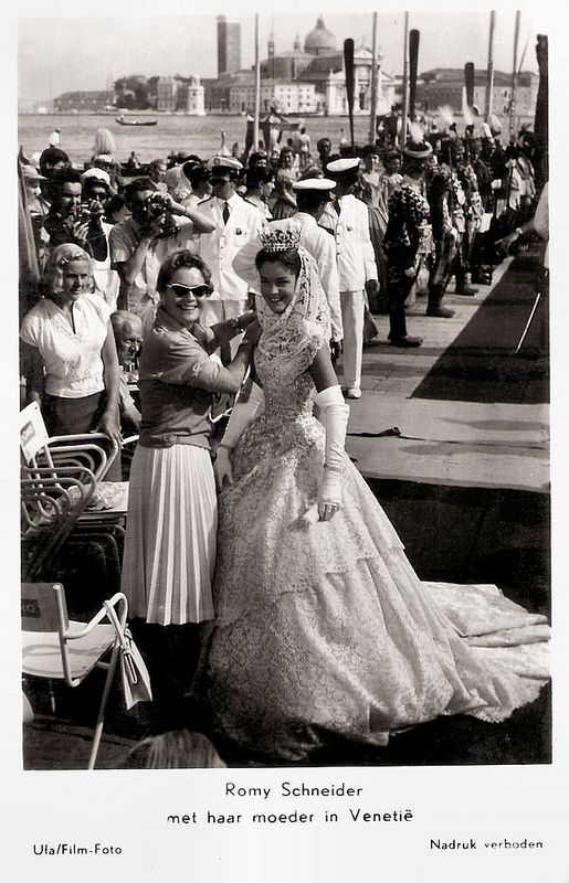 Romy Schneider and Magda Schneider in Venice. Dutch postcard by Gebr. Spanjersberg. Photo: Ufa/Film-Foto. The photo was made during the shooting of <i>Sissi - Schicksalsjahre einer Kaiserin/Sissi: The Fateful Years of an Empress</i> (Ernst Marischka, 1957).