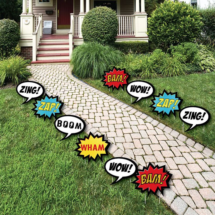BAM! Superhero - Comic Book Lawn Decorations - Outdoor Baby Shower or Birthday Party Yard Decorations - 10 Piece | BigDotOfHappiness.com