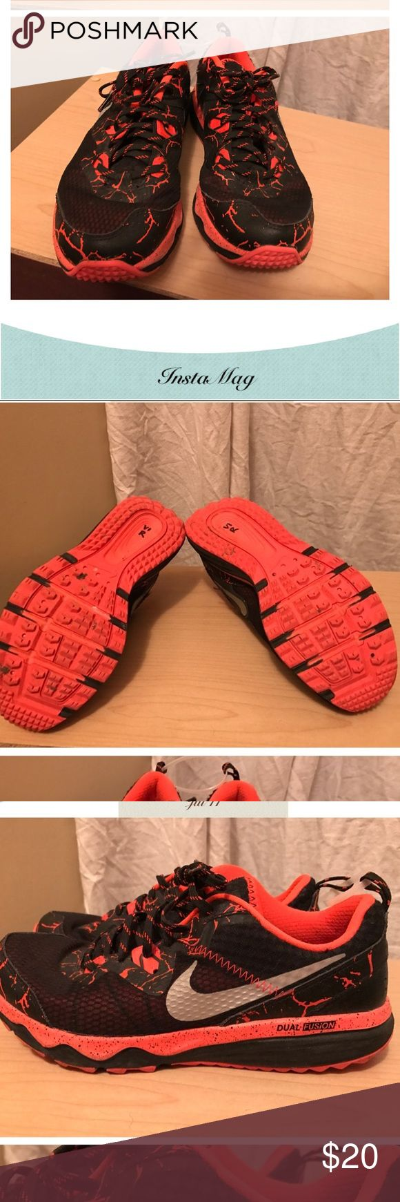 NIKE Dual Fusion Trail Running Shoes sz 7Y Nike Dual Fusion trail running shoes in Black and Orange Lava. Gently Worn. Smoke Free Home. pet Friendly Home. Nike Shoes Athletic Shoes