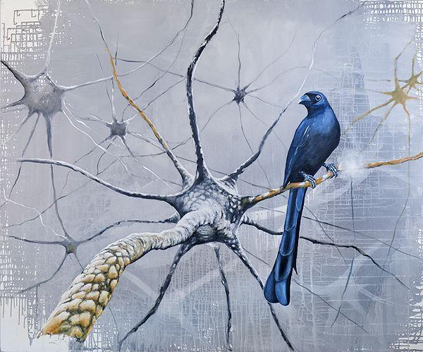 Neuronenvogel - Bird on a neurone - by Gunter Pusch