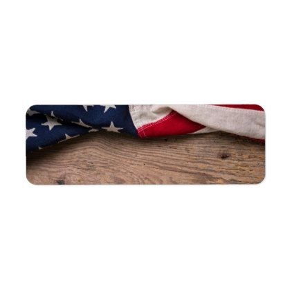 Vintage American Flag Border Label - labels customize diy cyo personalize