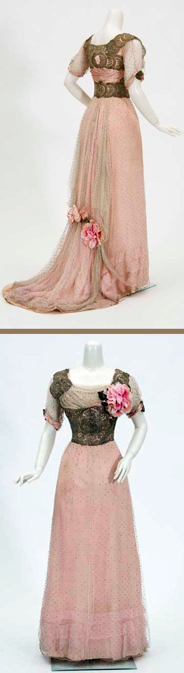 Evening gown, ca. 1910-1912. Debutante's dress with short train. White net studded with glass beads over grayish pink silk crepe chiffon over pale yellowish pink silk taffeta. Made by Helen Gjertsen, Dayton's (department store) dressmaker. Minnesota Historical Society.